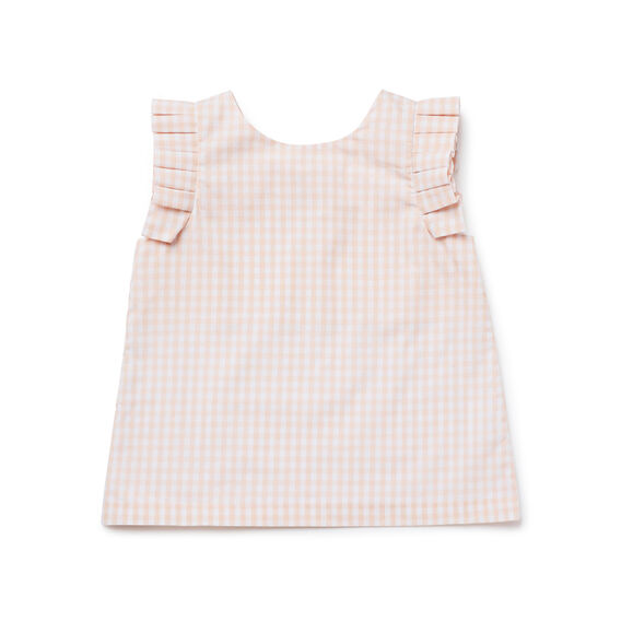 Gingham Pleat Sleeve Top