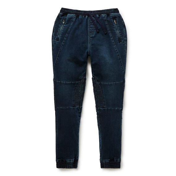 Denim Terry Panel Pant