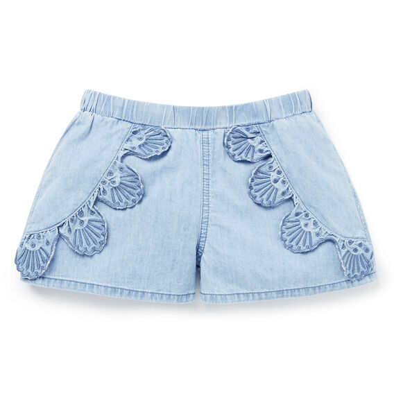 Chambray Broderie Shorts