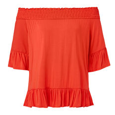 Shirred Frill Top