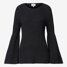 Flare Sleeve Rib Sweater