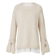 Splice Back Tie Sleeve Sweater