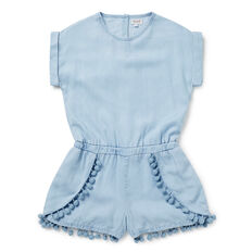 Chambray Pom Pom Playsuit