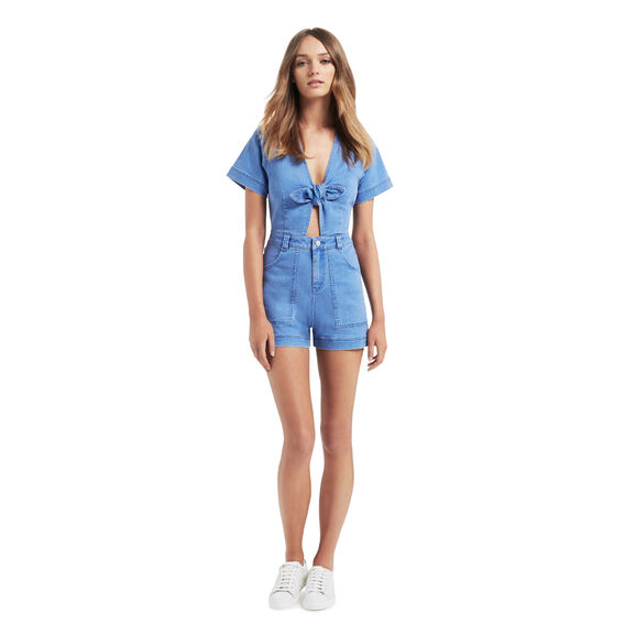 Bow Denim Romper