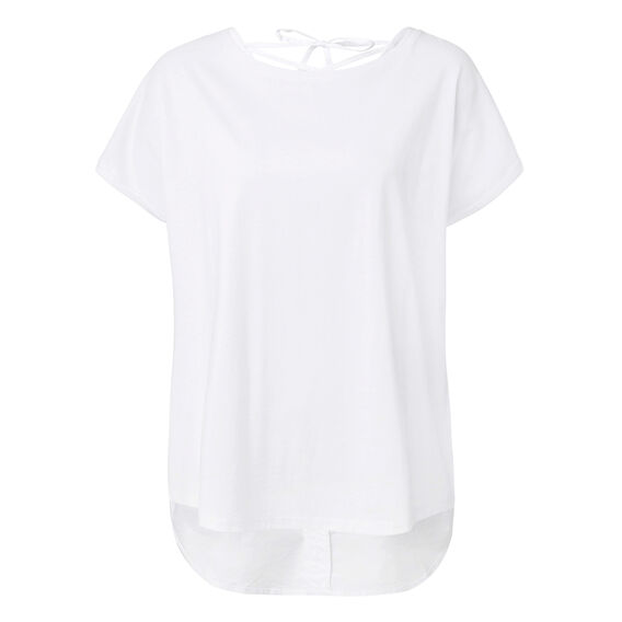 Contrast Knit Woven Tee