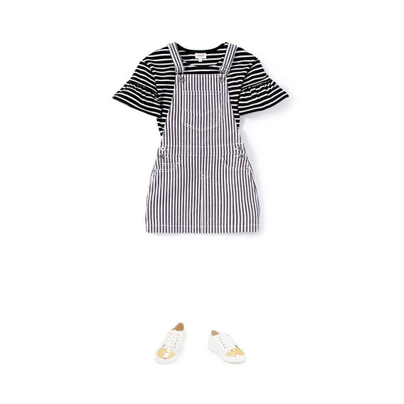 Stripe Denim Pinafore  CEMENT GREY  hi-res