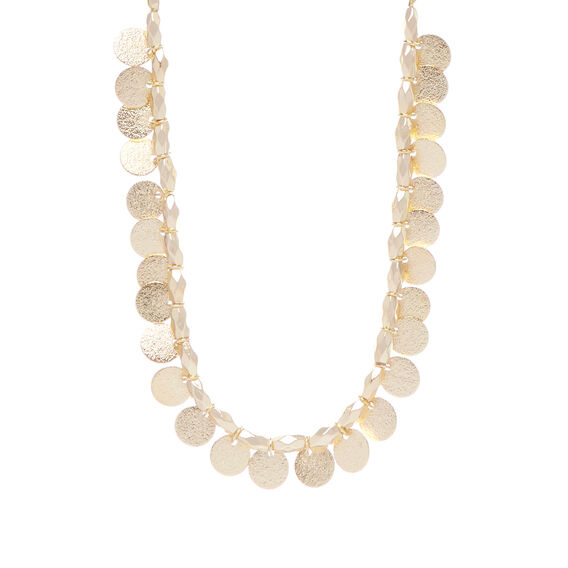 Textured Coin Necklace  GOLD  hi-res