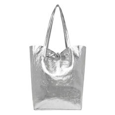 Leather Tote  SILVER  hi-res