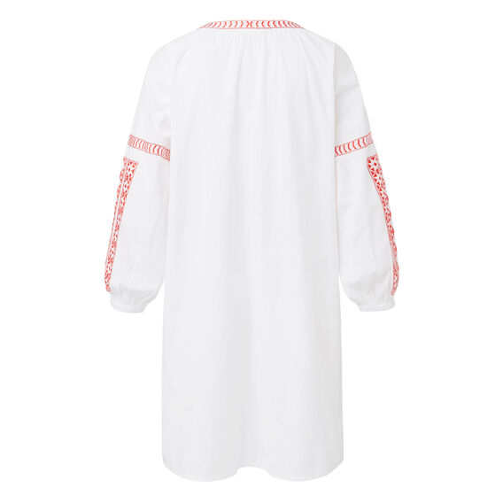 Embroidered Peasant Dress  WHITE  hi-res