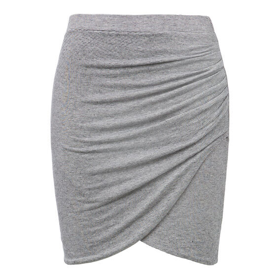 Linen Blend Twist Skirt  STRIPE  hi-res