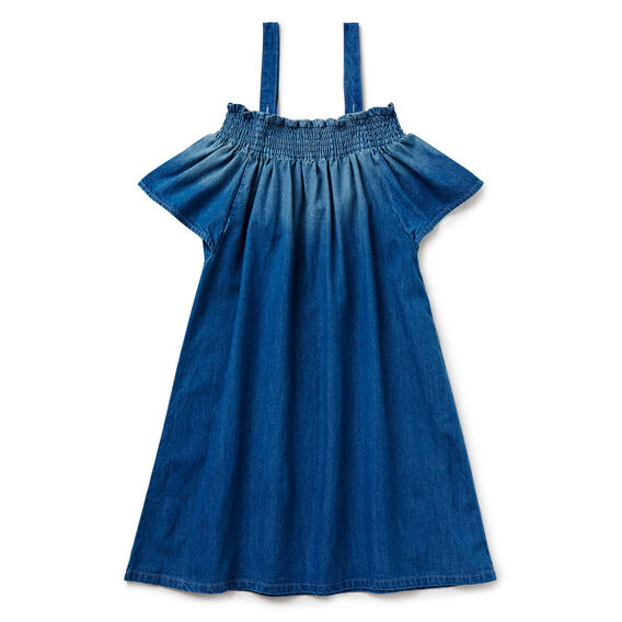 Off-Shoulder Dress  ICE BLUE CHAMBRAY  hi-res