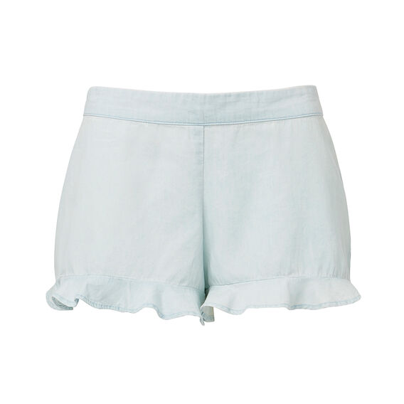 Frill Hem Short  CHAMBRAY BLUE  hi-res