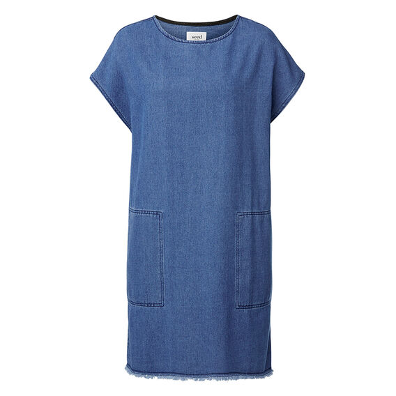 Raw Edge Denim Dress  MID DENIM  hi-res