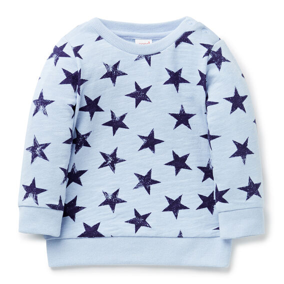 Scribble Star Sweater  DUSTY BLUE  hi-res