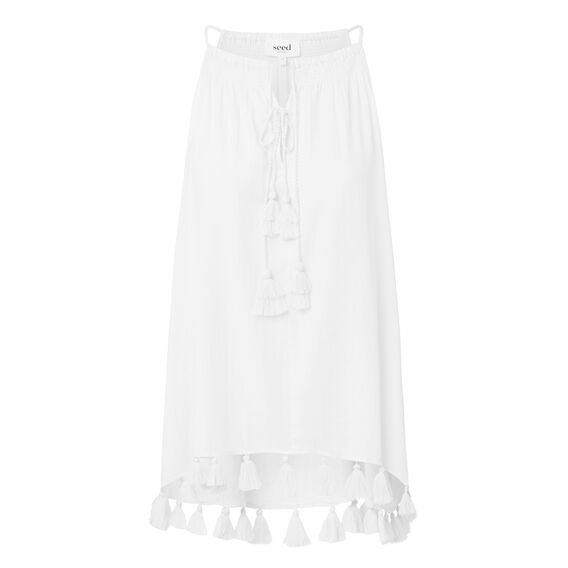 Cut Away Tassel Trim Top  WHITE  hi-res