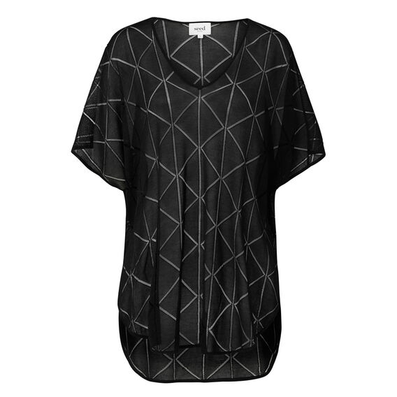 Textured Kaftan  BLACK  hi-res