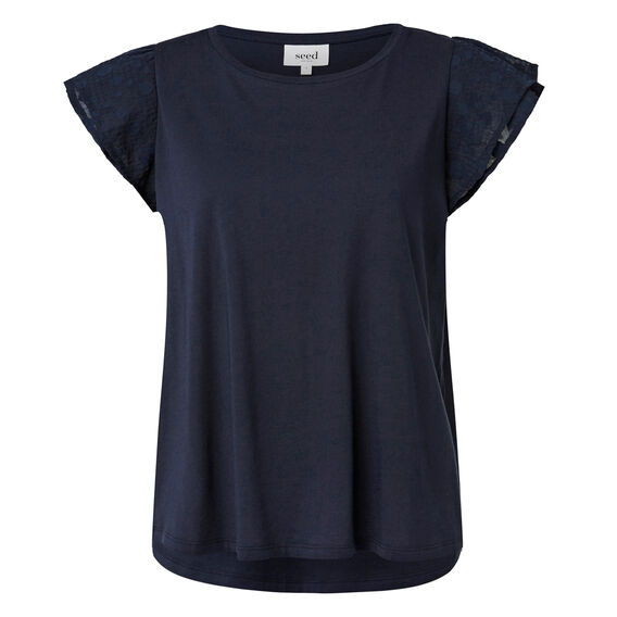 Textured Frill Sleeve Tee  INK BLUE  hi-res