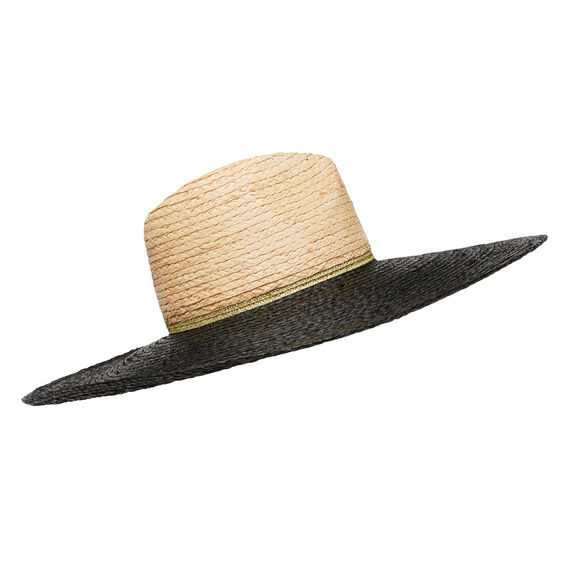 Raffia Contrast Brim Hat  BLACK/NATURAL  hi-res