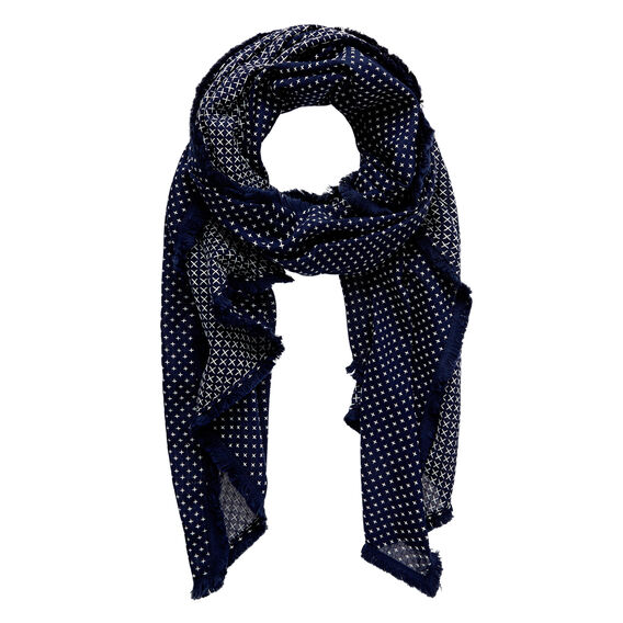 Cross Stitch Scarf  NAVY  hi-res