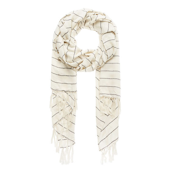 Slub Stripe Scarf  CREAM  hi-res