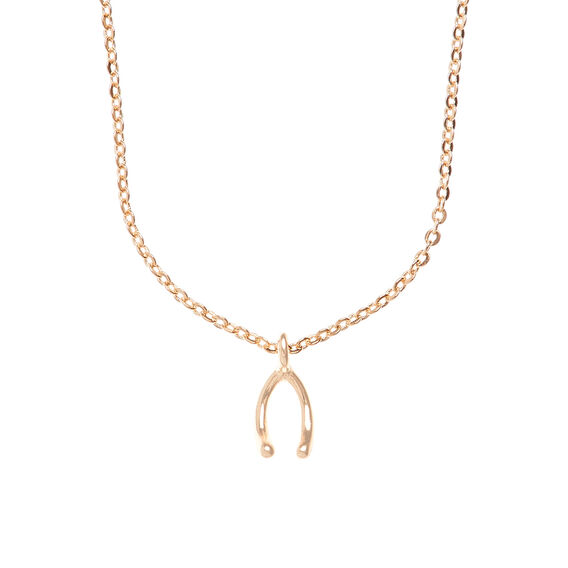 Wishbone Charm Necklace  GOLD  hi-res