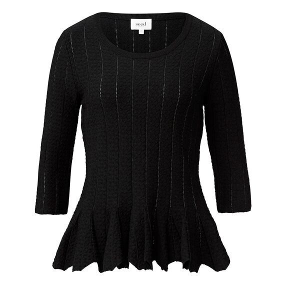 Crepe Edge Peplum Top  BLACK  hi-res