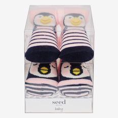 Penguin Sock Gift Box  PINK  hi-res