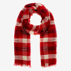 Classic Check Scarf  RUBY RED  hi-res