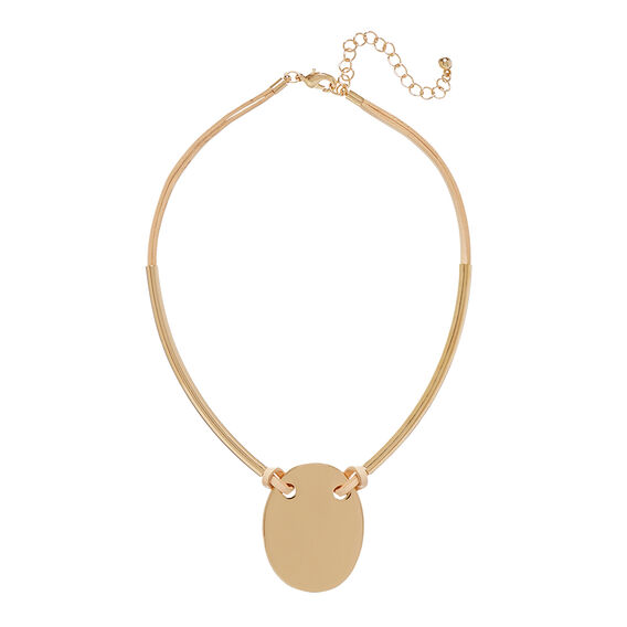 Oval Pendant Necklace  GOLD  hi-res