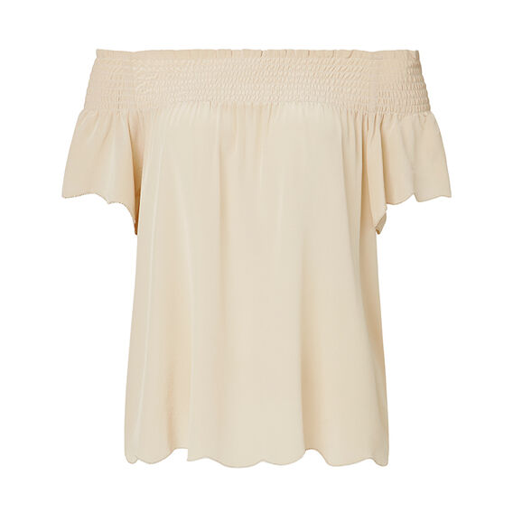 Collection Off Shoulder Silk Top  TAN  hi-res