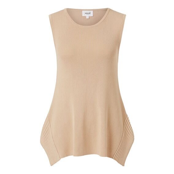Splice Crepe Rib Top  TAN  hi-res