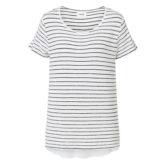 Textured Woven Back Tee  INK BLUE/WHITE STRIP  hi-res