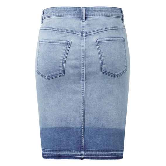 Dipped Denim Skirt  MID BLUE WASH  hi-res