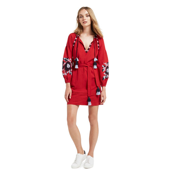 Embroidered Sleeve Dress  SCARLET RED  hi-res