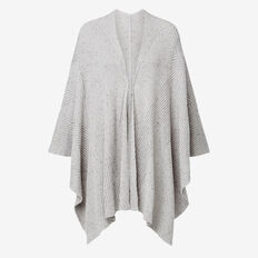 Fleck Knit Poncho  GREY  hi-res