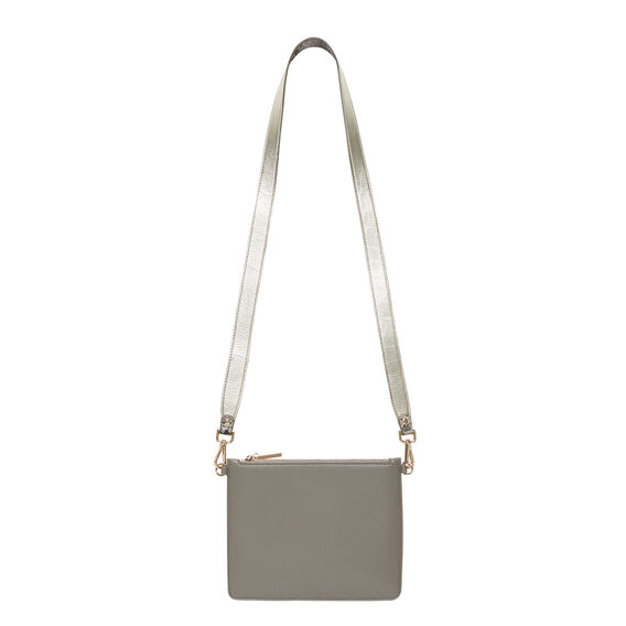 Contrast Leather Pouch  GREY  hi-res