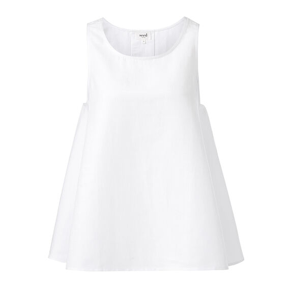 Pleat Back Top  WHITE  hi-res