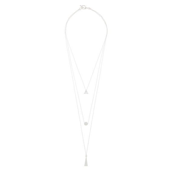 Layered Shapes Necklace  SILVER  hi-res