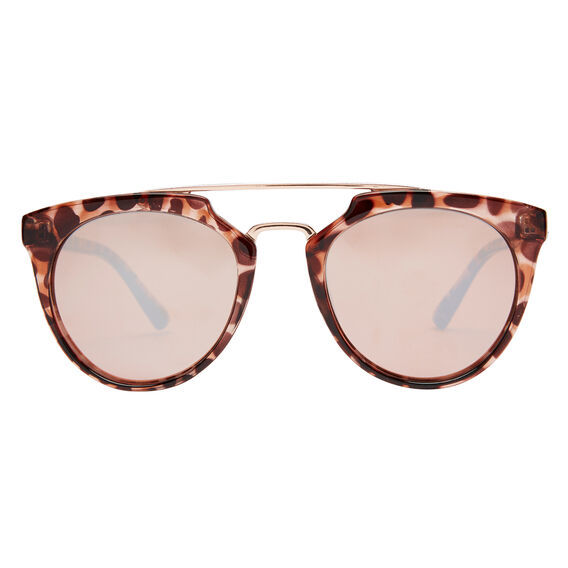 Jo Round Metal Trim Sunglasses  ROSE GOLD  hi-res