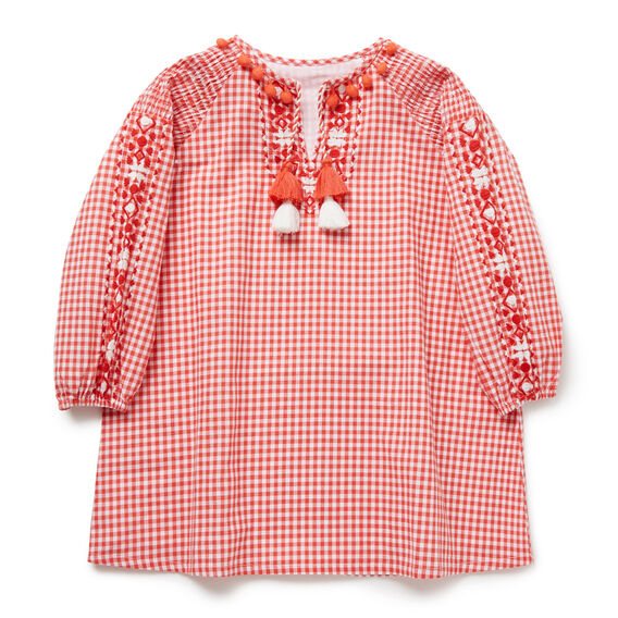 Gingham Smock Dress  CHERRY RED  hi-res