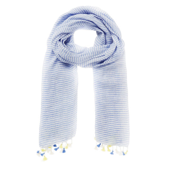 Stripe Pom Pom Scarf  SOFT BLUE CHAMBRAY  hi-res
