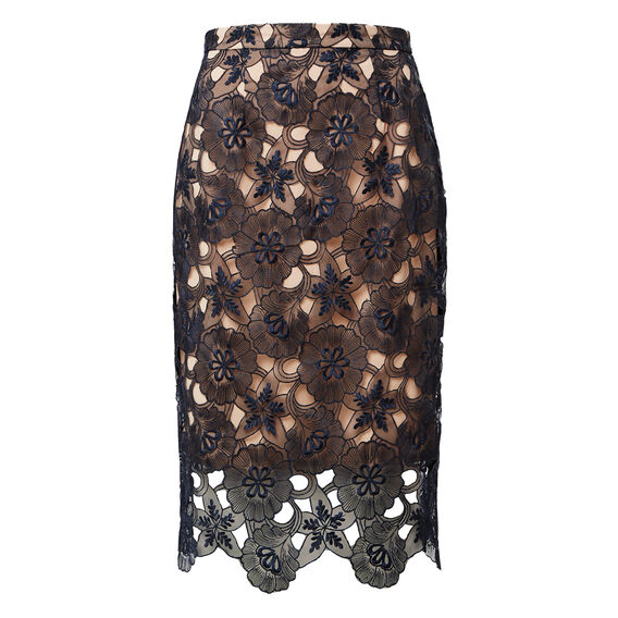 Lace Pencil Skirt  INK BLUE  hi-res