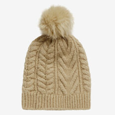 Wool Cable Knit Beanie  OAT  hi-res