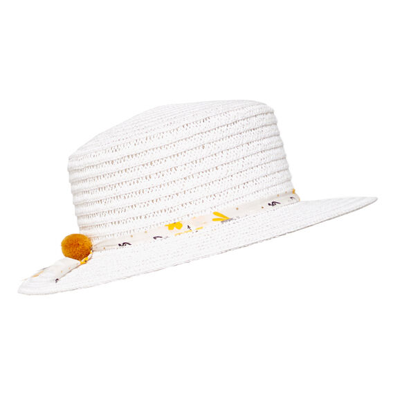 Floral Trim Boater Hat  WHITE  hi-res