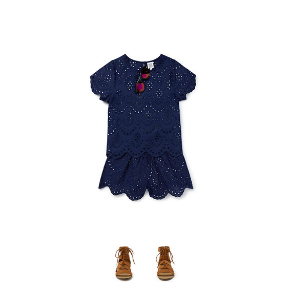 Broderie Short  NAVY  hi-res