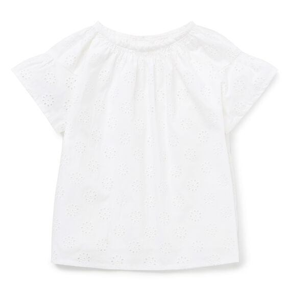 Broderie Frill Sleeve Top  WHITE  hi-res