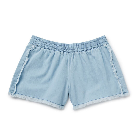 Fringe Chambray Shorts  SUNBLEACHED CHAMBRAY  hi-res