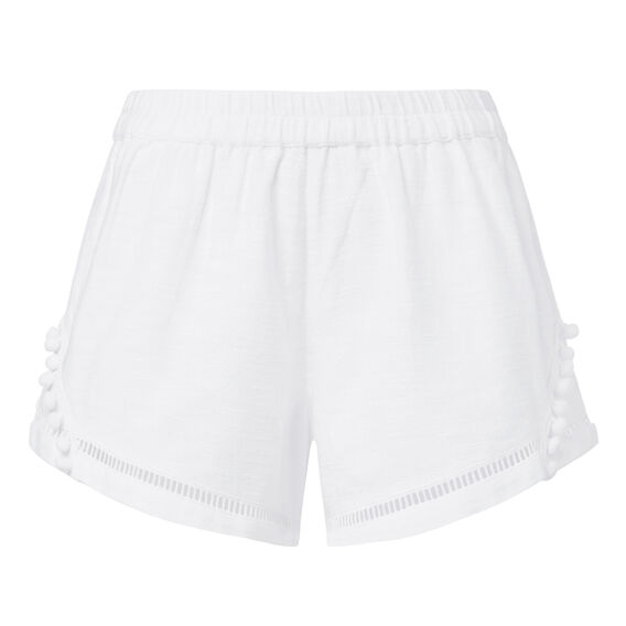 Textured Pom Pom Short  WHITE  hi-res