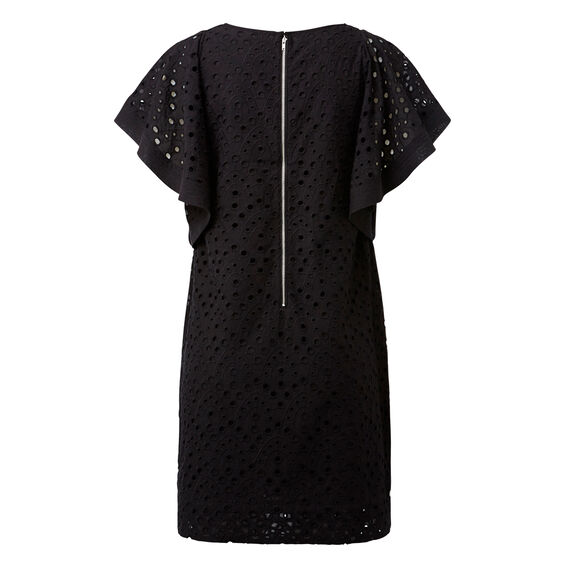 Embroidered Frill Sleeve Dress  BLACK  hi-res