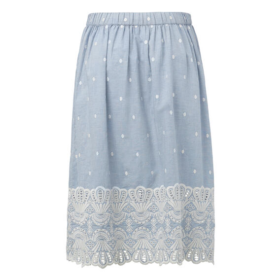 Embroidered Skirt  CROSS DYE MID BLUE  hi-res